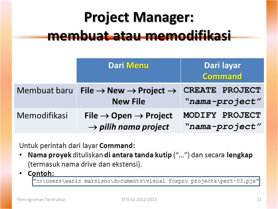 "Project Manager: membuat atau memodifikasi Menu Dari Menu Command Dari layar Command Membuat baru File  New  Project  New File CREATE PROJECT ""nama"