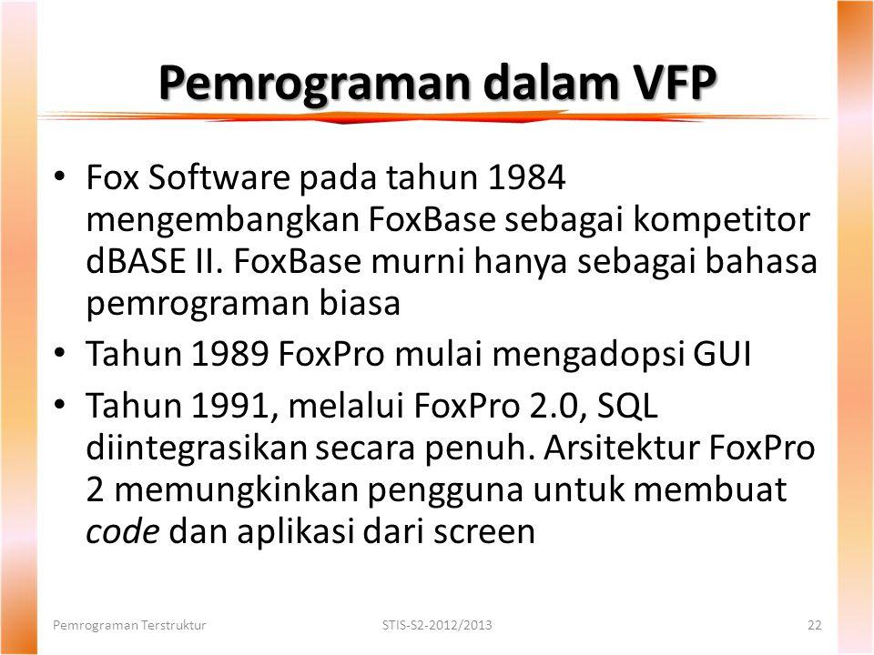 Pemrograman dalam VFP Fox Software pada tahun 1984 mengembangkan FoxBase sebagai kompetitor dBASE II.
