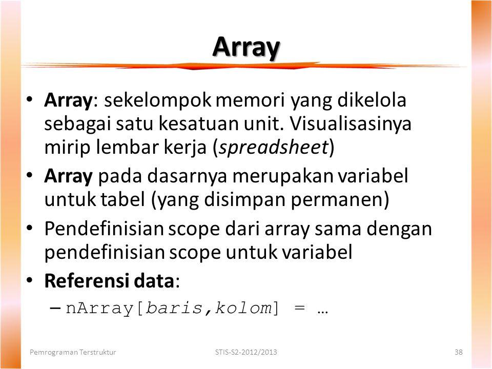 Array Pemrograman TerstrukturSTIS-S2-2012/201338 Array: sekelompok memori yang dikelola sebagai satu kesatuan unit.