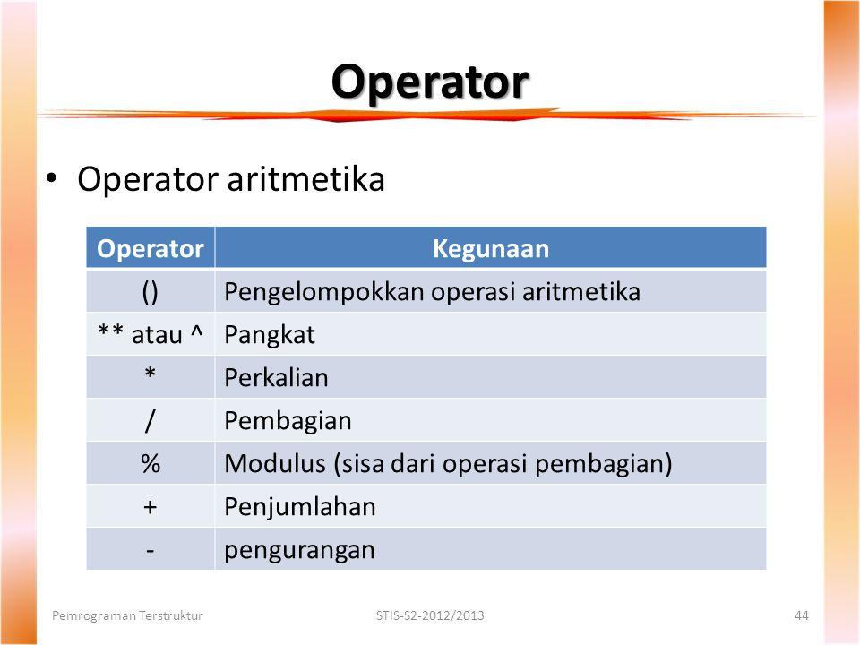 Operator Pemrograman TerstrukturSTIS-S2-2012/201344 Operator aritmetika OperatorKegunaan ()Pengelompokkan operasi aritmetika ** atau ^Pangkat *Perkalian /Pembagian %Modulus (sisa dari operasi pembagian) +Penjumlahan -pengurangan