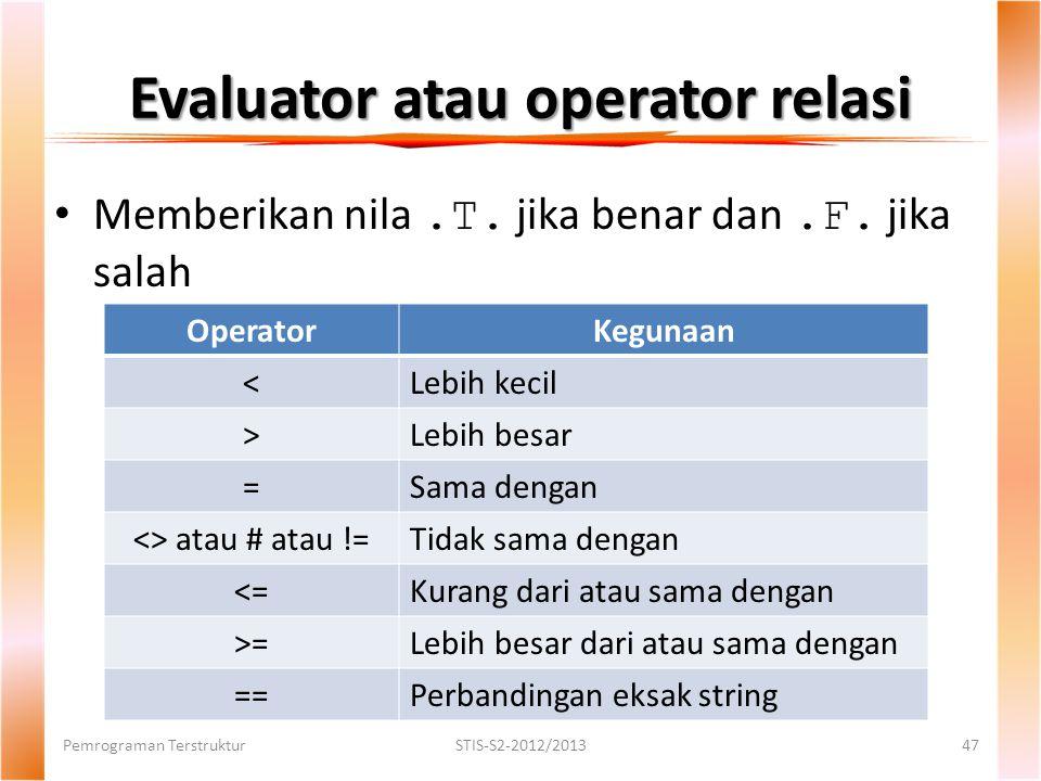 Evaluator atau operator relasi Pemrograman TerstrukturSTIS-S2-2012/201347 Memberikan nila.T.