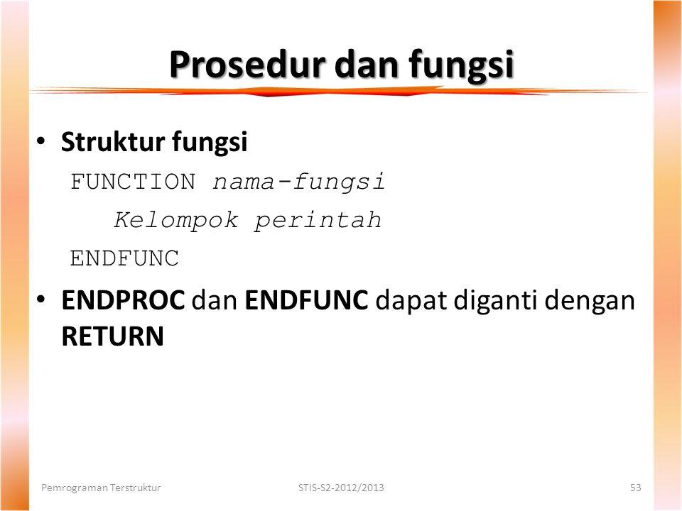 Prosedur dan fungsi Pemrograman TerstrukturSTIS-S2-2012/201353 Struktur fungsi FUNCTION nama-fungsi Kelompok perintah ENDFUNC ENDPROC dan ENDFUNC dapat diganti dengan RETURN