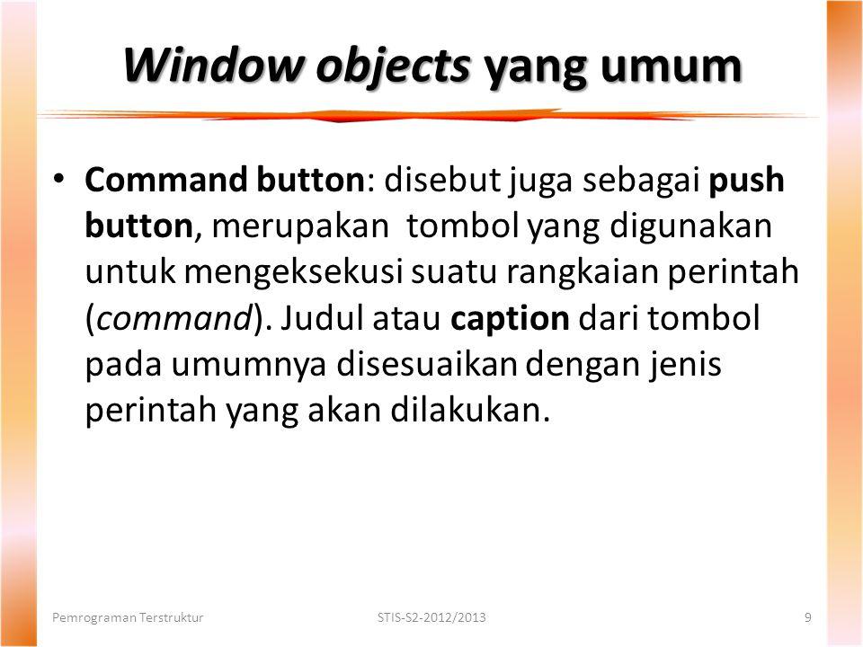 Window objects yang umum Pemrograman TerstrukturSTIS-S2-2012/20139 Command button: disebut juga sebagai push button, merupakan tombol yang digunakan untuk mengeksekusi suatu rangkaian perintah (command).