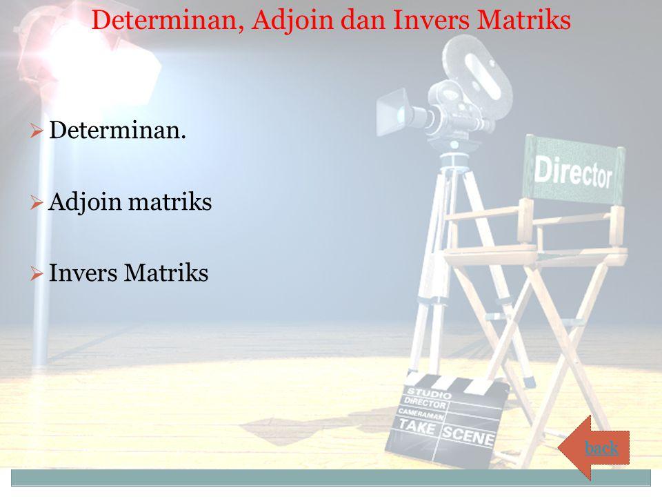 Determinan, Adjoin dan Invers Matriks  Determinan.  Adjoin matriks  Invers Matriks back