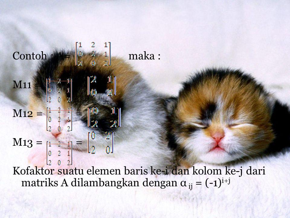 Contoh : A=maka : M11 = = M12 = = M13 = = Kofaktor suatu elemen baris ke-i dan kolom ke-j dari matriks A dilambangkan dengan α ij = (-1) i+j