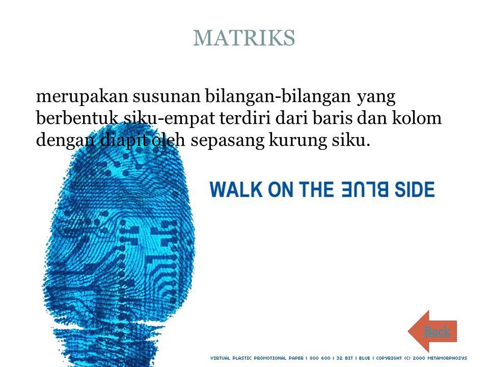 MATRIKS merupakan susunan bilangan-bilangan yang berbentuk siku-empat terdiri dari baris dan kolom dengan diapit oleh sepasang kurung siku. Back