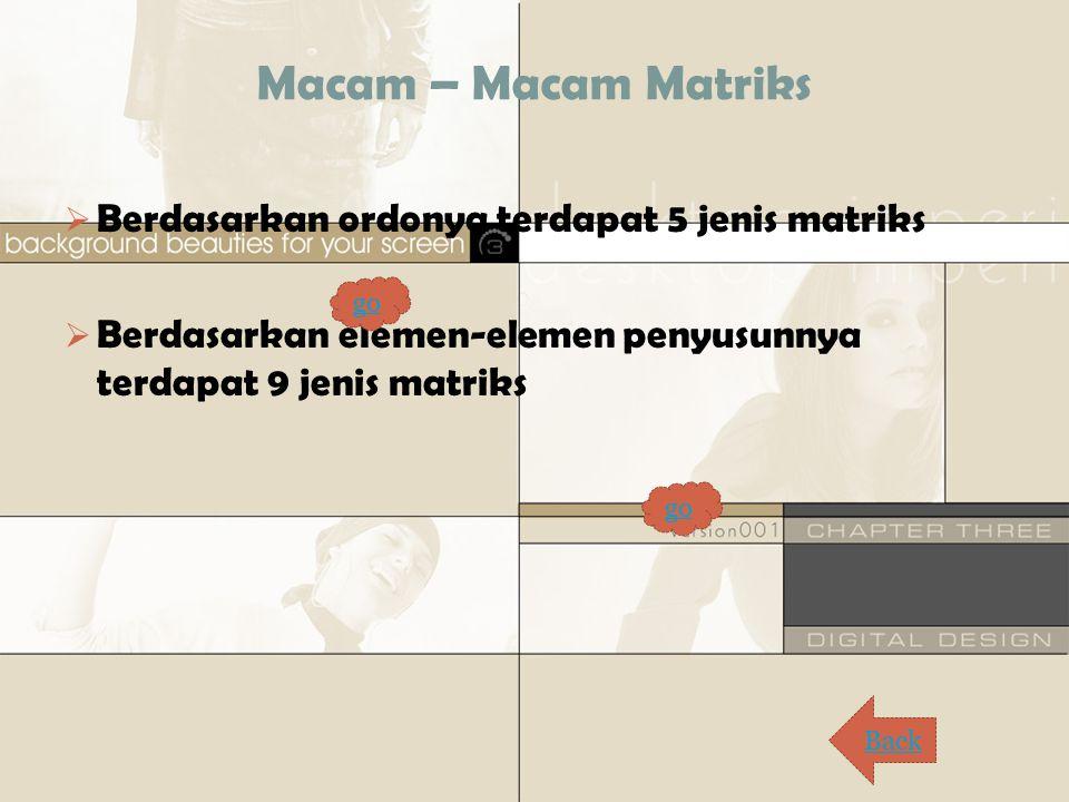 Macam – Macam Matriks  Berdasarkan ordonya terdapat 5 jenis matriks  Berdasarkan elemen-elemen penyusunnya terdapat 9 jenis matriks Back go