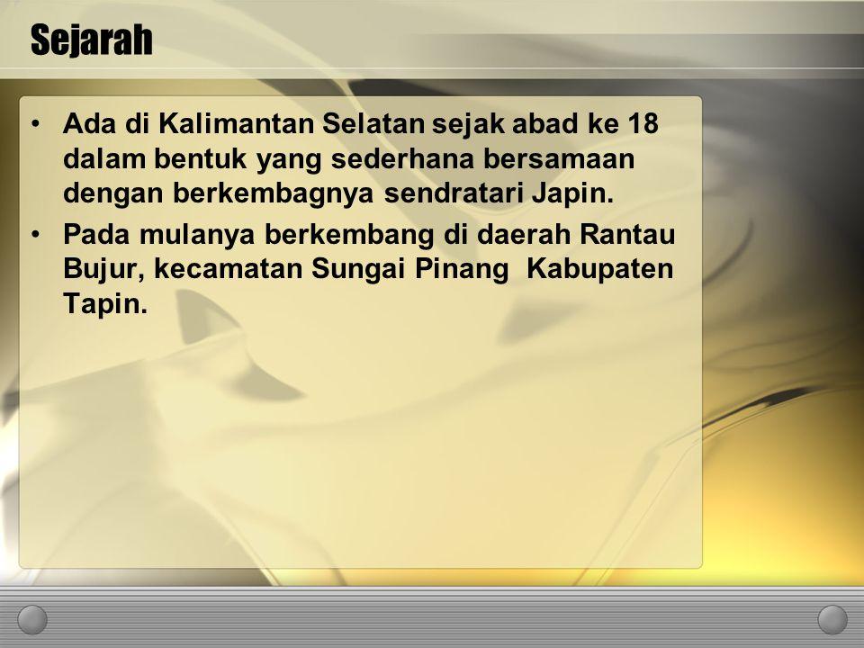 Sejarah Ada di Kalimantan Selatan sejak abad ke 18 dalam bentuk yang sederhana bersamaan dengan berkembagnya sendratari Japin. Pada mulanya berkembang