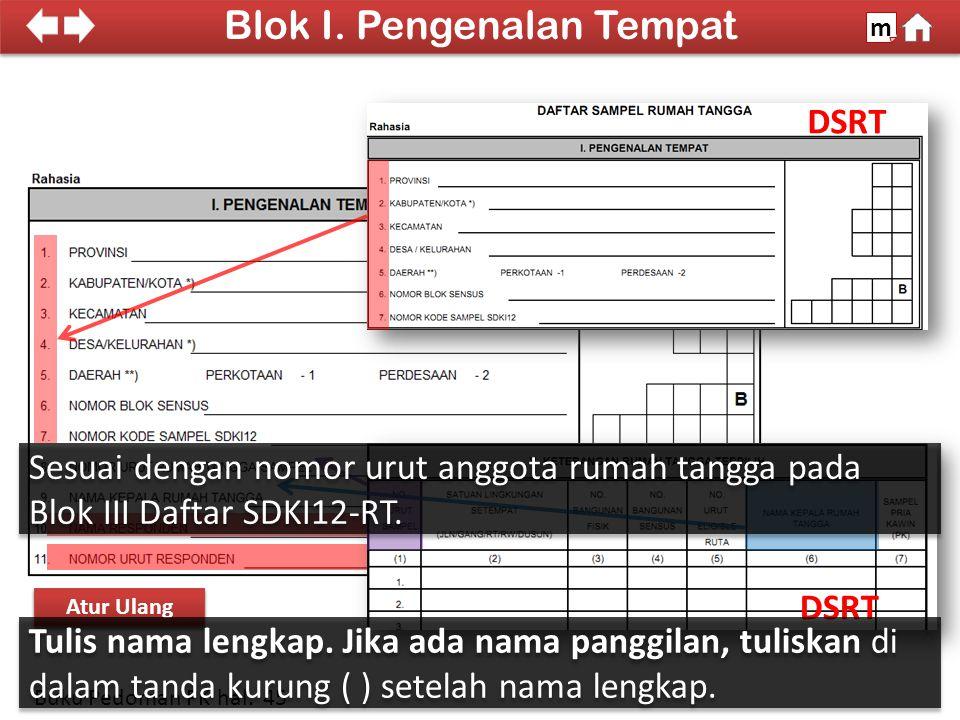 100% SDKI 2012 DSRT Cara Pengisian Atur Ulang Blok I.