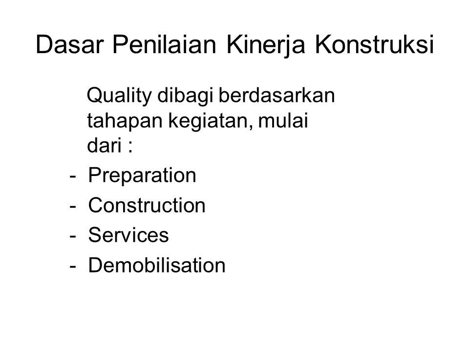 Dasar Penilaian Kinerja Konstruksi Quality dibagi berdasarkan tahapan kegiatan, mulai dari : - Preparation - Construction - Services - Demobilisation