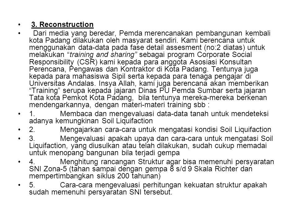 3. Reconstruction Dari media yang beredar, Pemda merencanakan pembangunan kembali kota Padang dilakukan oleh masyarat sendiri. Kami berencana untuk me
