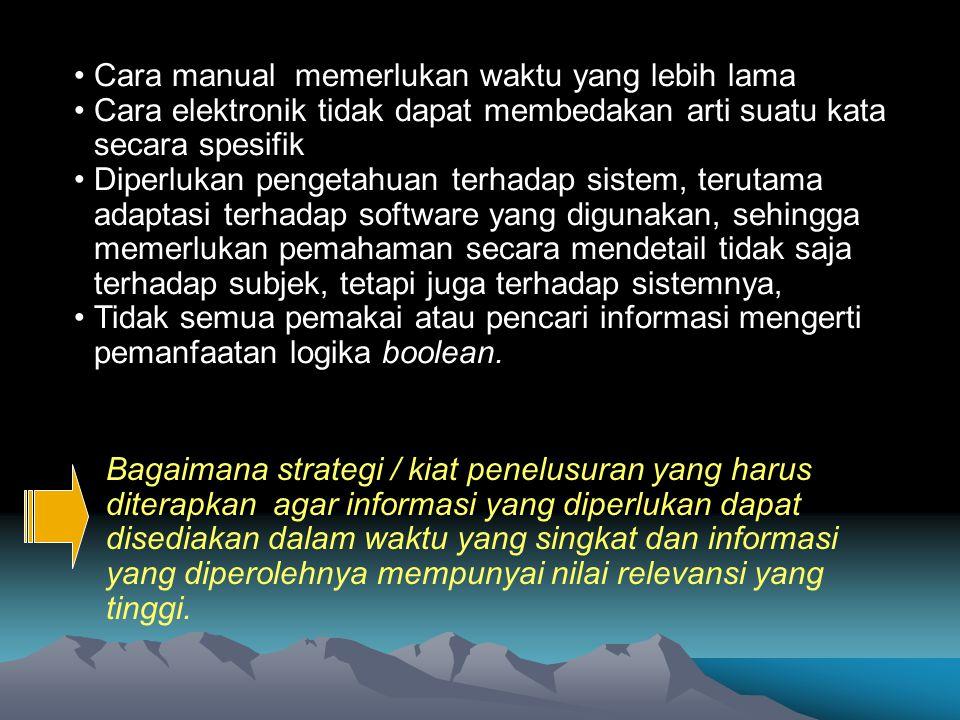 Sulistyo-Basuki (1999) kegagalan menemukan informasi dapat disebabkan oleh 1.