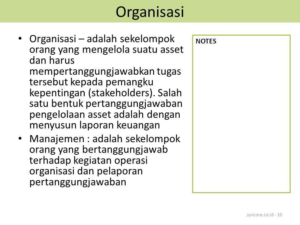 Organisasi Organisasi – adalah sekelompok orang yang mengelola suatu asset dan harus mempertanggungjawabkan tugas tersebut kepada pemangku kepentingan