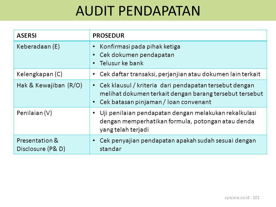 AUDIT PENDAPATAN syncore.co.id - 101 ASERSIPROSEDUR Keberadaan (E) Konfirmasi pada pihak ketiga Cek dokumen pendapatan Telusur ke bank Kelengkapan (C)