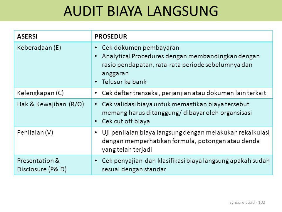 AUDIT BIAYA LANGSUNG syncore.co.id - 102 ASERSIPROSEDUR Keberadaan (E) Cek dokumen pembayaran Analytical Procedures dengan membandingkan dengan rasio