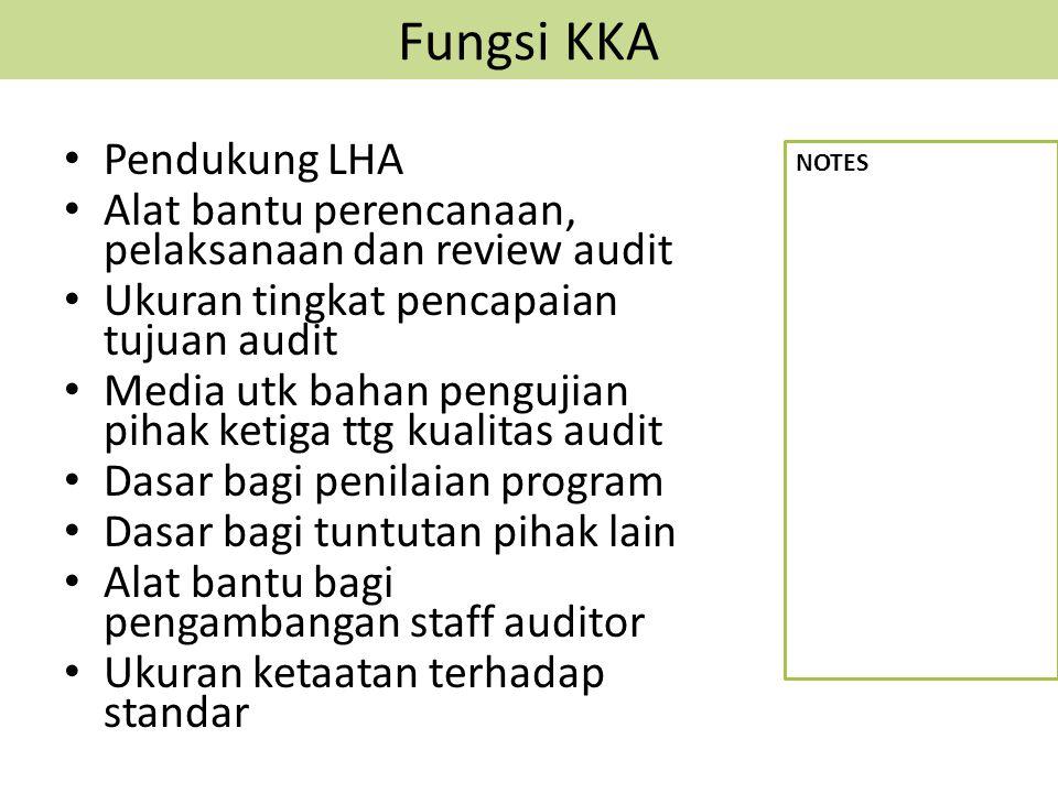 Fungsi KKA Pendukung LHA Alat bantu perencanaan, pelaksanaan dan review audit Ukuran tingkat pencapaian tujuan audit Media utk bahan pengujian pihak k