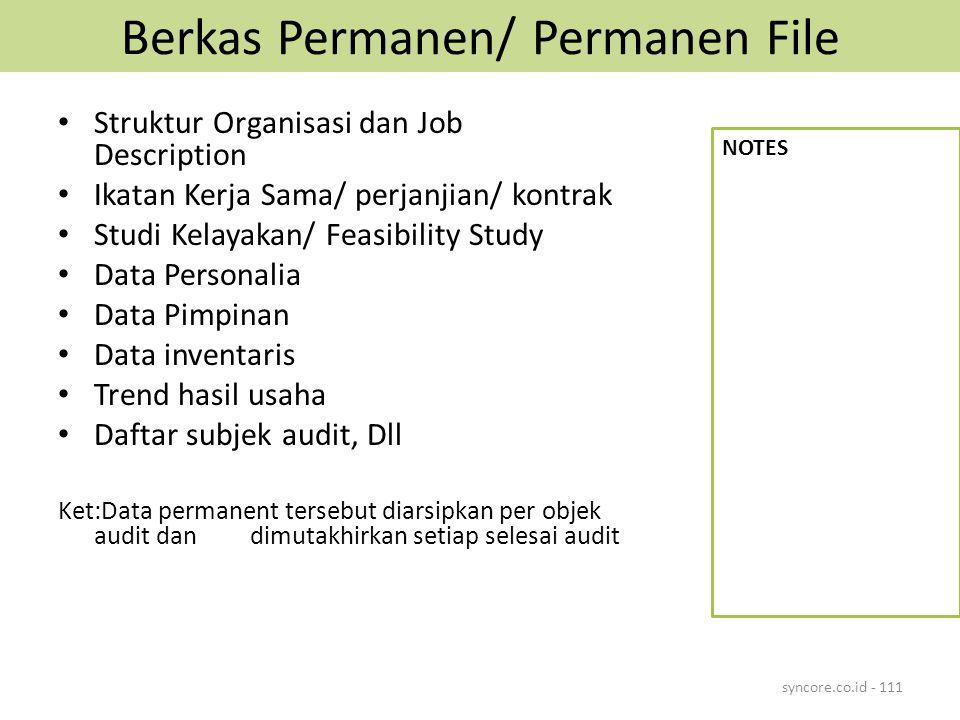 Berkas Permanen/ Permanen File Struktur Organisasi dan Job Description Ikatan Kerja Sama/ perjanjian/ kontrak Studi Kelayakan/ Feasibility Study Data