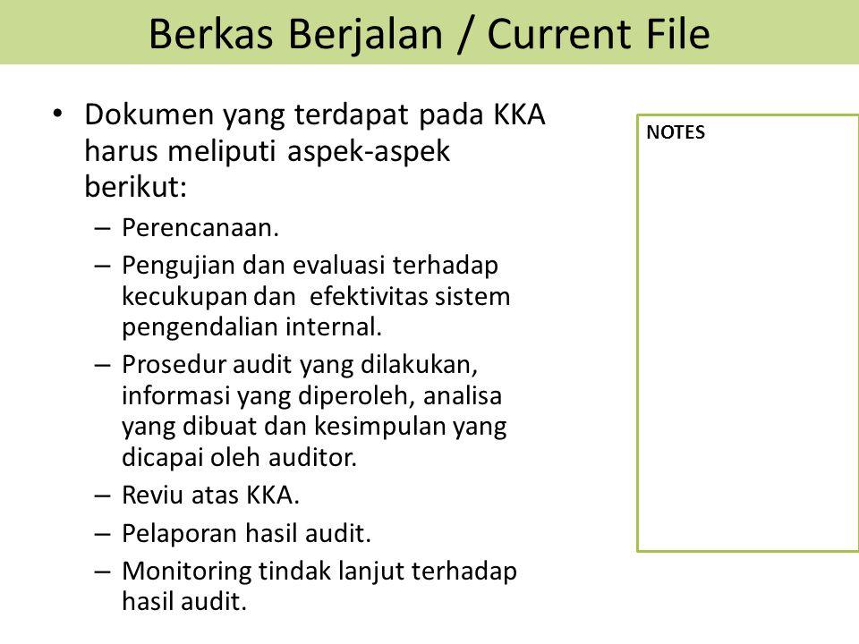 Berkas Berjalan / Current File Dokumen yang terdapat pada KKA harus meliputi aspek-aspek berikut: – Perencanaan. – Pengujian dan evaluasi terhadap kec