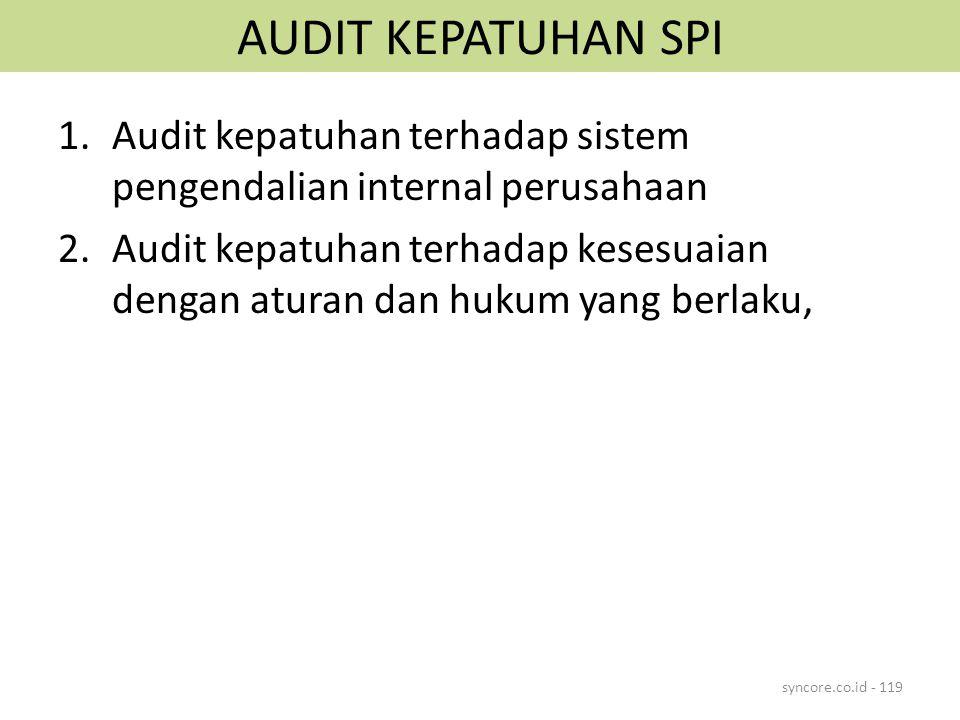 AUDIT KEPATUHAN SPI 1.Audit kepatuhan terhadap sistem pengendalian internal perusahaan 2.Audit kepatuhan terhadap kesesuaian dengan aturan dan hukum y