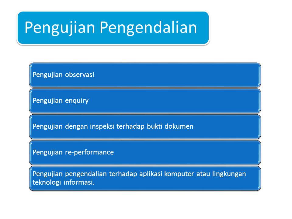 Pengujian Pengendalian Pengujian observasiPengujian enquiryPengujian dengan inspeksi terhadap bukti dokumenPengujian re-performance Pengujian pengendalian terhadap aplikasi komputer atau lingkungan teknologi informasi.