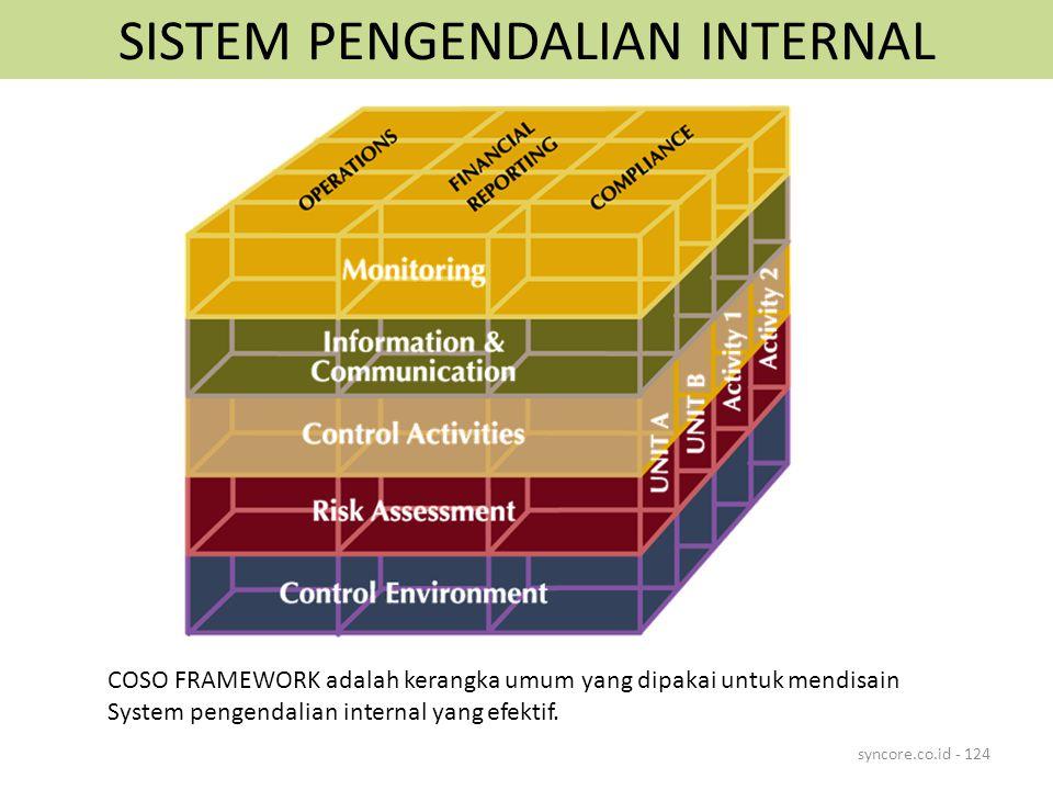 SISTEM PENGENDALIAN INTERNAL syncore.co.id - 124 COSO FRAMEWORK adalah kerangka umum yang dipakai untuk mendisain System pengendalian internal yang efektif.