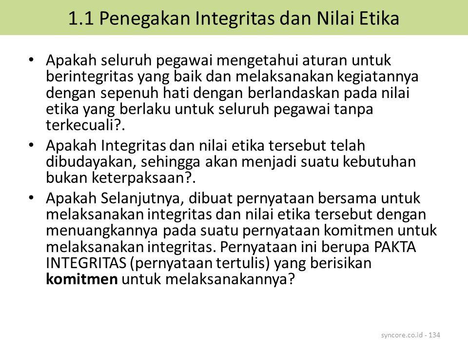 1.1 Penegakan Integritas dan Nilai Etika Apakah seluruh pegawai mengetahui aturan untuk berintegritas yang baik dan melaksanakan kegiatannya dengan se