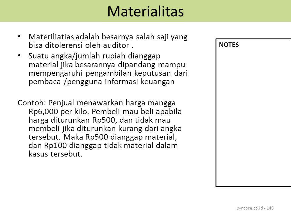 Materialitas Materiliatias adalah besarnya salah saji yang bisa ditolerensi oleh auditor. Suatu angka/jumlah rupiah dianggap material jika besarannya