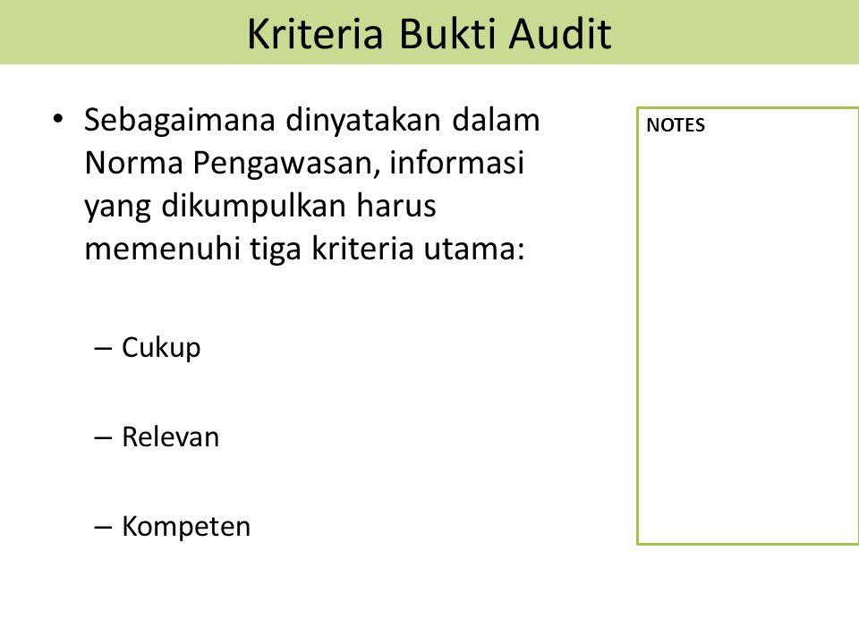 Kriteria Bukti Audit Sebagaimana dinyatakan dalam Norma Pengawasan, informasi yang dikumpulkan harus memenuhi tiga kriteria utama: – Cukup – Relevan –