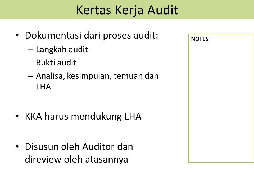 Kertas Kerja Audit Dokumentasi dari proses audit: – Langkah audit – Bukti audit – Analisa, kesimpulan, temuan dan LHA KKA harus mendukung LHA Disusun oleh Auditor dan direview oleh atasannya NOTES