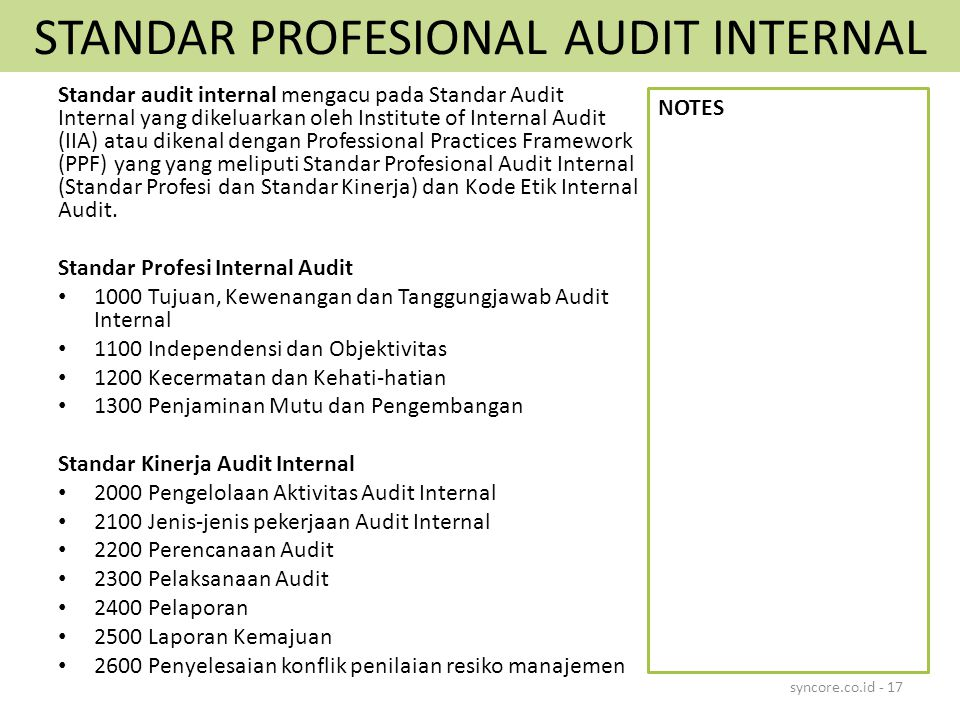 STANDAR PROFESIONAL AUDIT INTERNAL Standar audit internal mengacu pada Standar Audit Internal yang dikeluarkan oleh Institute of Internal Audit (IIA)