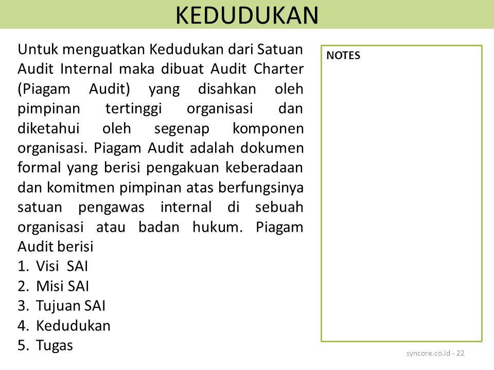 KEDUDUKAN syncore.co.id - 22 Untuk menguatkan Kedudukan dari Satuan Audit Internal maka dibuat Audit Charter (Piagam Audit) yang disahkan oleh pimpinan tertinggi organisasi dan diketahui oleh segenap komponen organisasi.