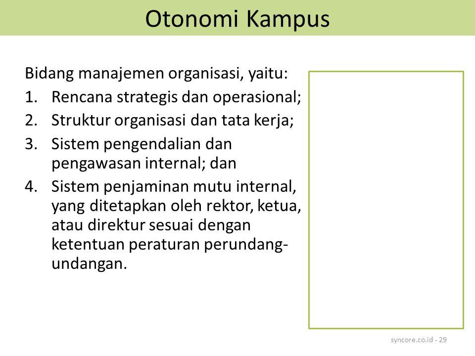 Otonomi Kampus Bidang manajemen organisasi, yaitu: 1.Rencana strategis dan operasional; 2.Struktur organisasi dan tata kerja; 3.Sistem pengendalian dan pengawasan internal; dan 4.Sistem penjaminan mutu internal, yang ditetapkan oleh rektor, ketua, atau direktur sesuai dengan ketentuan peraturan perundang- undangan.