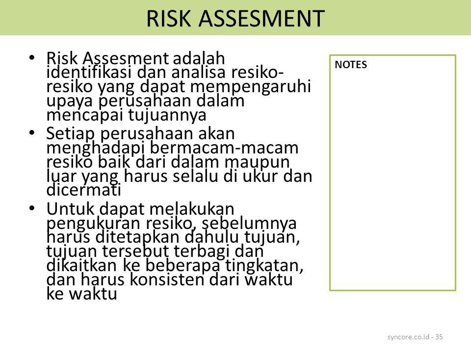 RISK ASSESMENT Risk Assesment adalah identifikasi dan analisa resiko- resiko yang dapat mempengaruhi upaya perusahaan dalam mencapai tujuannya Setiap perusahaan akan menghadapi bermacam-macam resiko baik dari dalam maupun luar yang harus selalu di ukur dan dicermati Untuk dapat melakukan pengukuran resiko, sebelumnya harus ditetapkan dahulu tujuan, tujuan tersebut terbagi dan dikaitkan ke beberapa tingkatan, dan harus konsisten dari waktu ke waktu syncore.co.id - 35 NOTES