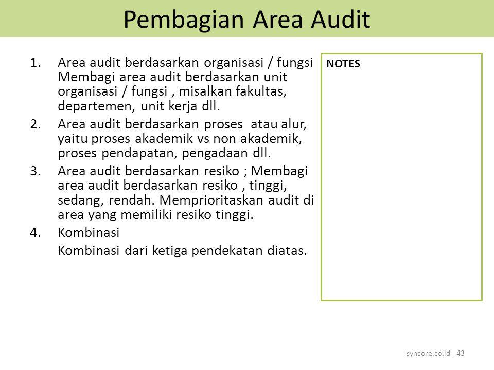 Pembagian Area Audit 1.Area audit berdasarkan organisasi / fungsi Membagi area audit berdasarkan unit organisasi / fungsi, misalkan fakultas, departemen, unit kerja dll.