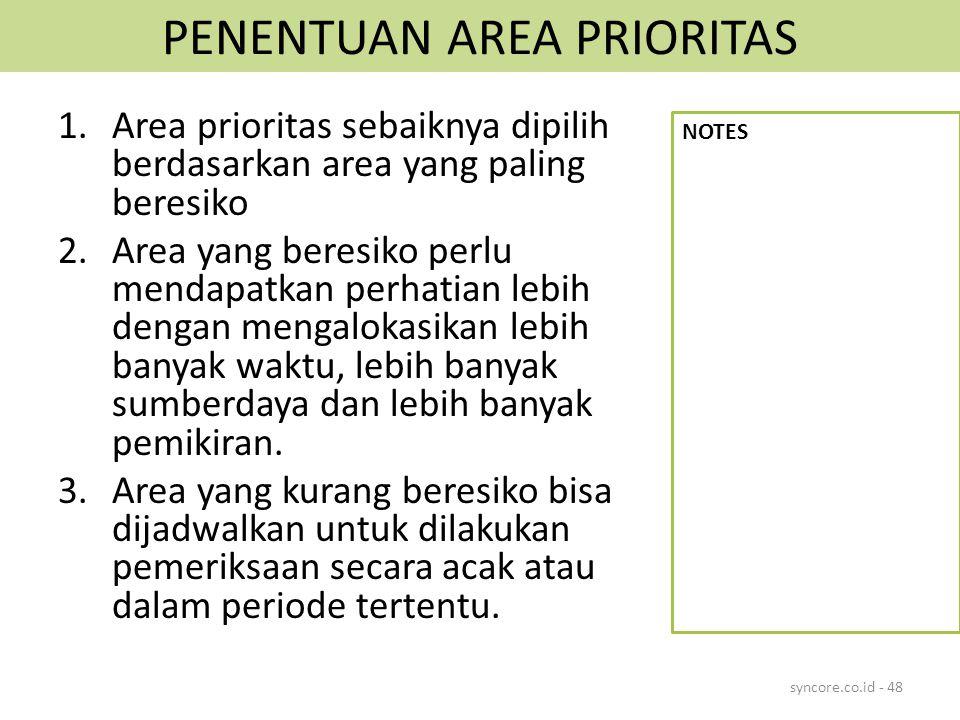 PENENTUAN AREA PRIORITAS 1.Area prioritas sebaiknya dipilih berdasarkan area yang paling beresiko 2.Area yang beresiko perlu mendapatkan perhatian leb