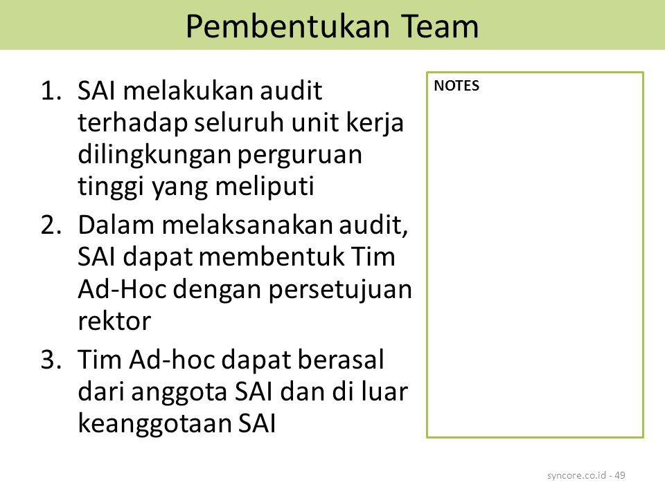 Pembentukan Team 1.SAI melakukan audit terhadap seluruh unit kerja dilingkungan perguruan tinggi yang meliputi 2.Dalam melaksanakan audit, SAI dapat membentuk Tim Ad-Hoc dengan persetujuan rektor 3.Tim Ad-hoc dapat berasal dari anggota SAI dan di luar keanggotaan SAI syncore.co.id - 49 NOTES