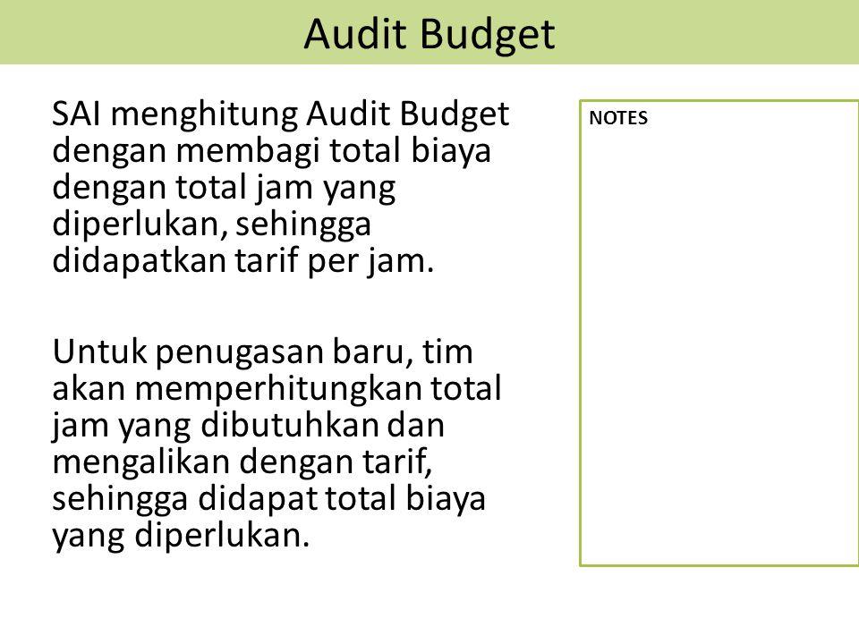 Audit Budget SAI menghitung Audit Budget dengan membagi total biaya dengan total jam yang diperlukan, sehingga didapatkan tarif per jam. Untuk penugas