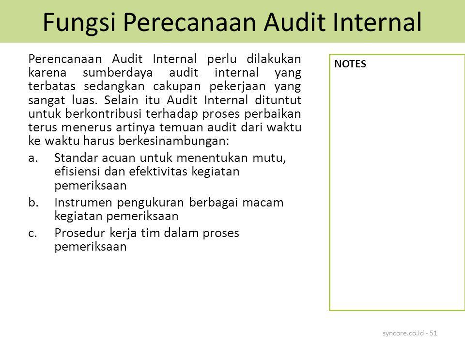 Fungsi Perecanaan Audit Internal Perencanaan Audit Internal perlu dilakukan karena sumberdaya audit internal yang terbatas sedangkan cakupan pekerjaan yang sangat luas.
