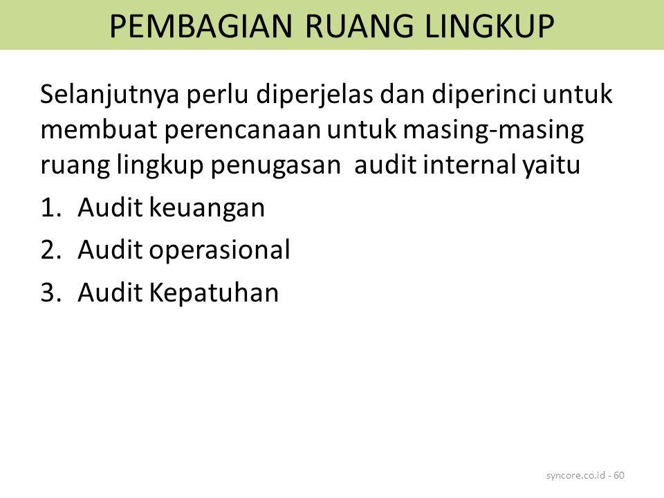 PEMBAGIAN RUANG LINGKUP Selanjutnya perlu diperjelas dan diperinci untuk membuat perencanaan untuk masing-masing ruang lingkup penugasan audit interna