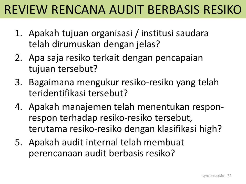 REVIEW RENCANA AUDIT BERBASIS RESIKO 1.Apakah tujuan organisasi / institusi saudara telah dirumuskan dengan jelas? 2.Apa saja resiko terkait dengan pe