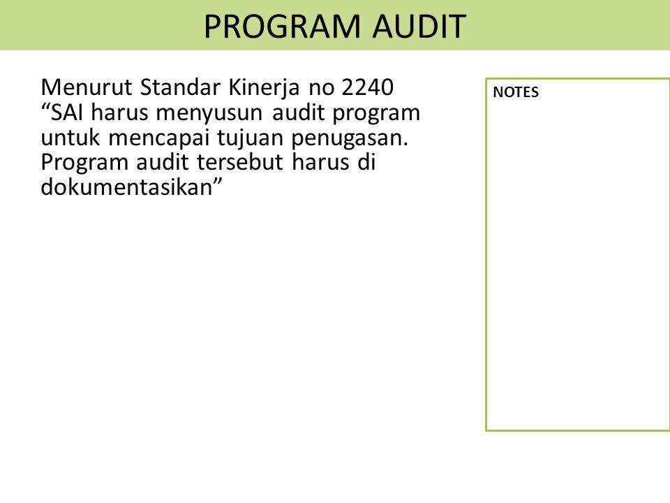 """PROGRAM AUDIT Menurut Standar Kinerja no 2240 """"SAI harus menyusun audit program untuk mencapai tujuan penugasan. Program audit tersebut harus di dokum"""