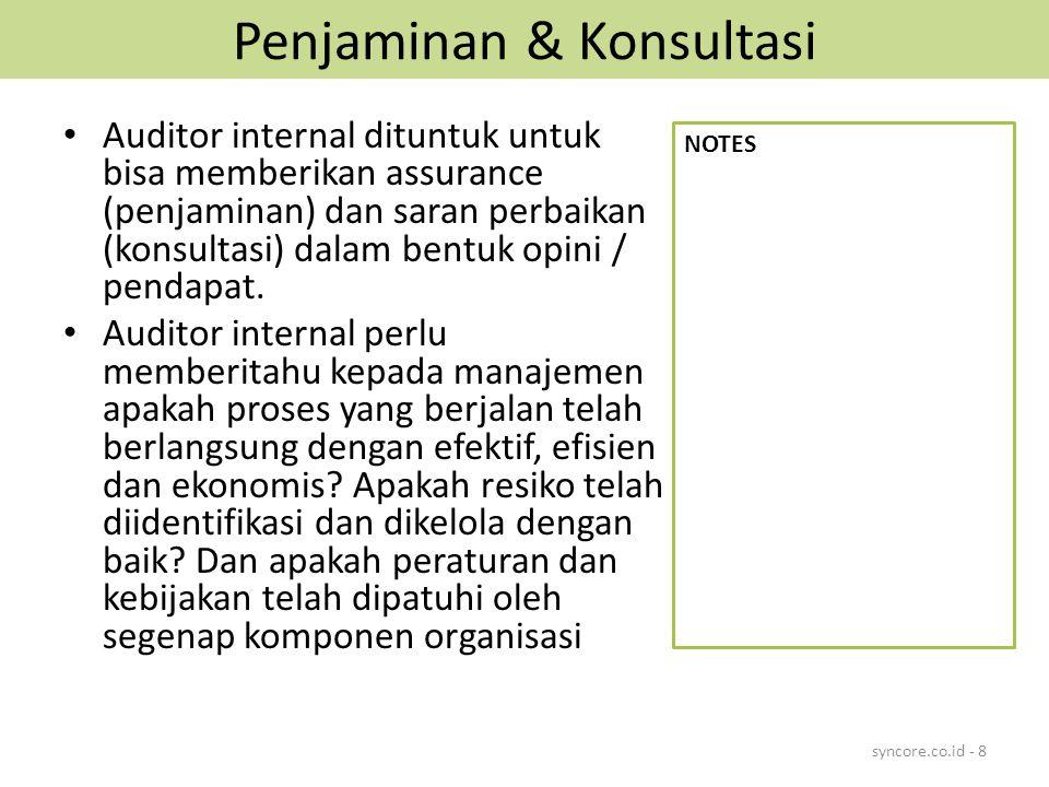 Penjaminan & Konsultasi Auditor internal dituntuk untuk bisa memberikan assurance (penjaminan) dan saran perbaikan (konsultasi) dalam bentuk opini / p