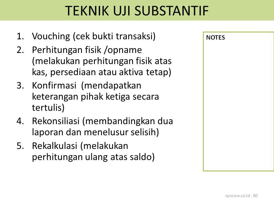 TEKNIK UJI SUBSTANTIF 1.Vouching (cek bukti transaksi) 2.Perhitungan fisik /opname (melakukan perhitungan fisik atas kas, persediaan atau aktiva tetap) 3.Konfirmasi (mendapatkan keterangan pihak ketiga secara tertulis) 4.Rekonsiliasi (membandingkan dua laporan dan menelusur selisih) 5.Rekalkulasi (melakukan perhitungan ulang atas saldo) syncore.co.id - 80 NOTES