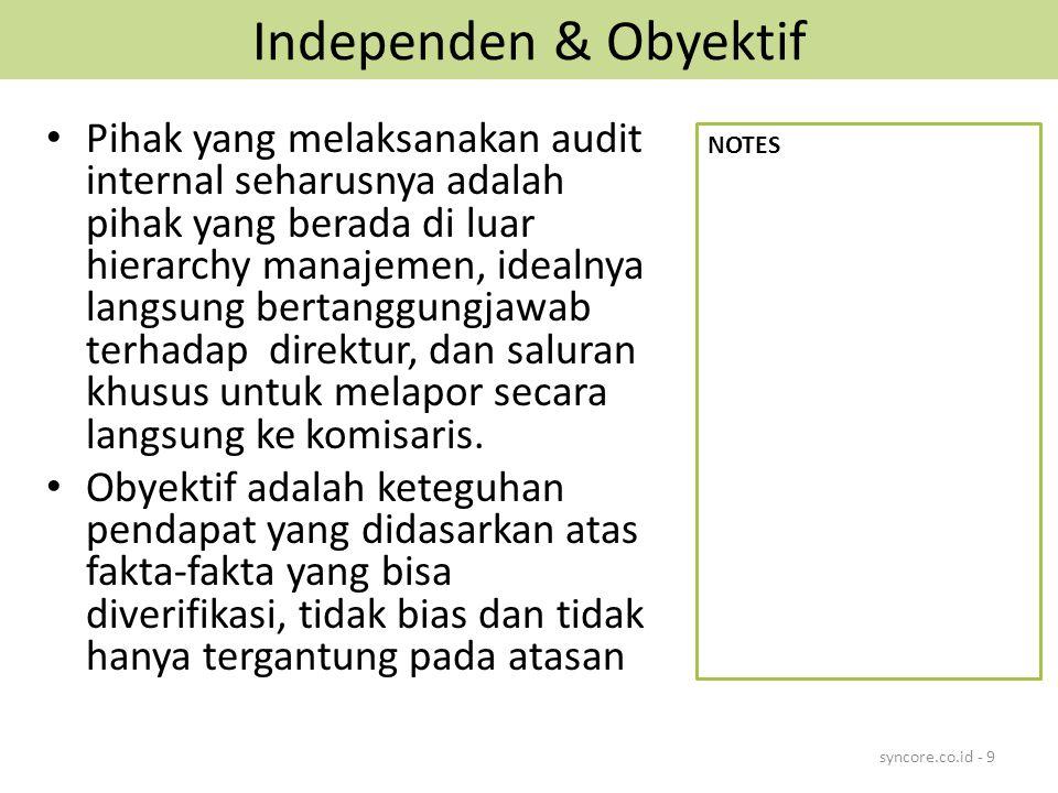 PEMBENTUKAN SAI 1.Mengesahkan Internal Audit Charter 2.Menyusun Internal Audit Guide (Pedoman Audit Internal) 3.Rekruitment Staff 4.Orientasi dan Pelatihan 5.Menyusun System Informasi Audit 6.Penilaian Resiko Bisnis 7.Membuat Rencana Audit 8.Pemeriksaan dan Konsultasi The Essential Handbook of Internal Auditing – Picket, 2005, p.