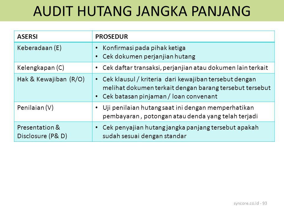 AUDIT HUTANG JANGKA PANJANG syncore.co.id - 93 ASERSIPROSEDUR Keberadaan (E) Konfirmasi pada pihak ketiga Cek dokumen perjanjian hutang Kelengkapan (C