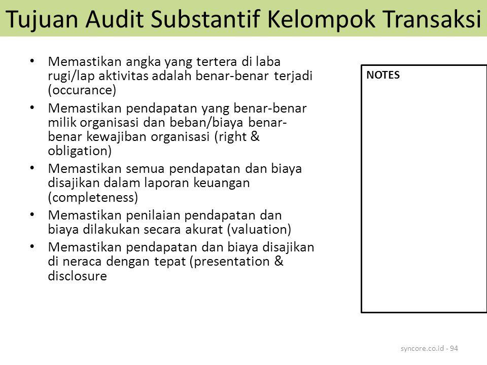 Tujuan Audit Substantif Kelompok Transaksi Memastikan angka yang tertera di laba rugi/lap aktivitas adalah benar-benar terjadi (occurance) Memastikan