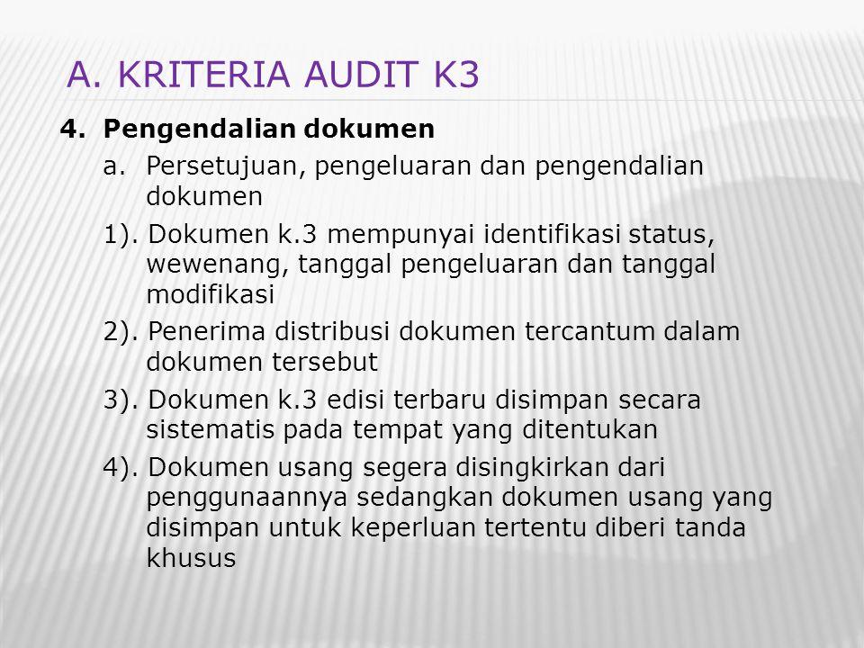 4.Pengendalian dokumen a.Persetujuan, pengeluaran dan pengendalian dokumen 1). Dokumen k.3 mempunyai identifikasi status, wewenang, tanggal pengeluara