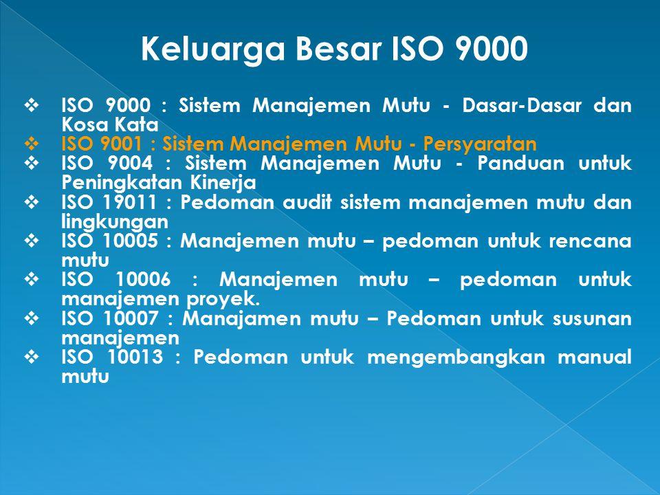  ISO 9000 : Sistem Manajemen Mutu - Dasar-Dasar dan Kosa Kata  ISO 9001 : Sistem Manajemen Mutu - Persyaratan  ISO 9004 : Sistem Manajemen Mutu - Panduan untuk Peningkatan Kinerja  ISO 19011 : Pedoman audit sistem manajemen mutu dan lingkungan  ISO 10005 : Manajemen mutu – pedoman untuk rencana mutu  ISO 10006 : Manajemen mutu – pedoman untuk manajemen proyek.
