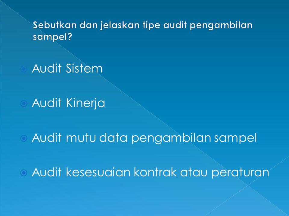  Audit Sistem  Audit Kinerja  Audit mutu data pengambilan sampel  Audit kesesuaian kontrak atau peraturan
