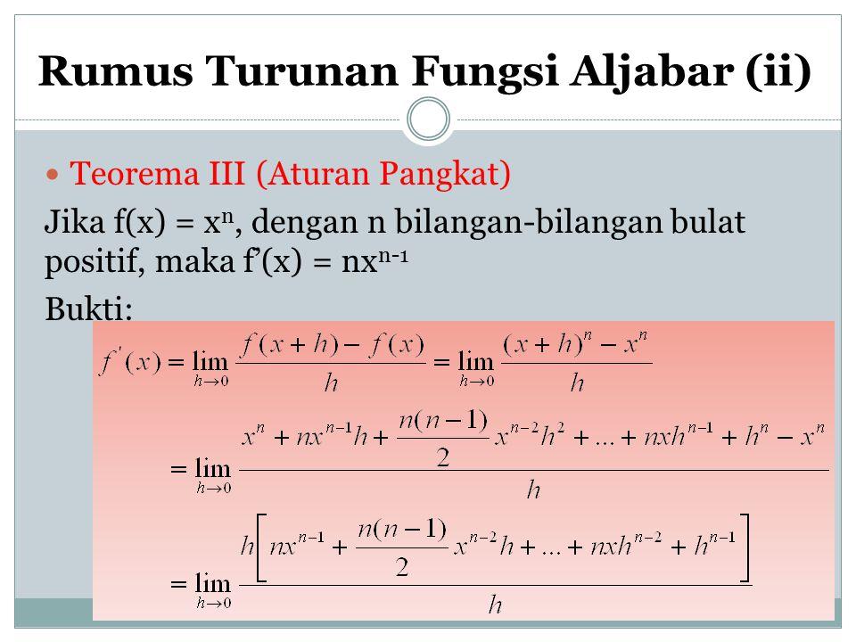 Rumus Turunan Fungsi Aljabar (ii) Teorema III (Aturan Pangkat) Jika f(x) = x n, dengan n bilangan-bilangan bulat positif, maka f'(x) = nx n-1 Bukti: